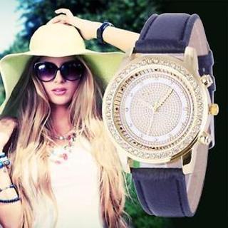 Fashion Women Geneva Leather band Analog Stainless Steel Quartz Wrist Watch New