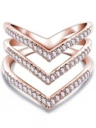 Exquisite 18K Rose Gold Woman's Fashion Three Layer Heart CZ Diamond Ring Size 6