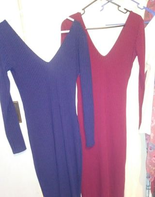 3 new womens Longsleeve dresses. Size Large / XL dark blue Maroon and Beige