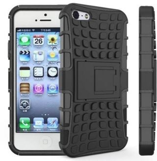 NEW iPHONE 6 PLUS Black HYBRID Case Scratch-Resistant Shock Absorbent Non Slip Tire Grip Stand