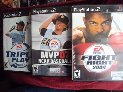 3~ PlayStation 2 Games; Triple Play Baseball, MVP 07 NCAA Baseball, Fight Night 2004 VG Condition!