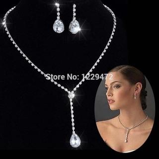 Celebrity Inspired Crystal Tennis Necklace teardrop Earrings Long Silver Set
