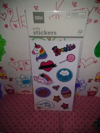 ❤✨❤✨❤️BRAND NEW SHEET OF KAWAII PUFFY STICKERS(12 STICKERS TOTAL)❤✨❤✨❤ONLY 1!