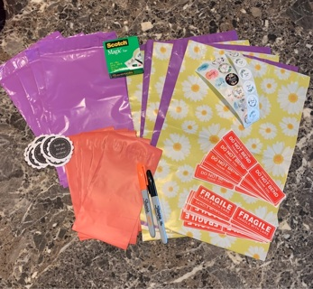 Shipping items, poly mailers,thank you stickers,sharpies & more