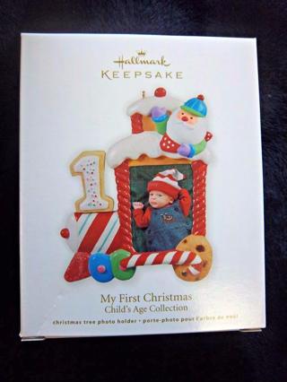 "NEW - $12.95 Retail ~ Hallmark Keepsake ""MY FIRST CHRISTMAS"" Cute Train with #1 at Engine FREE SHIP"
