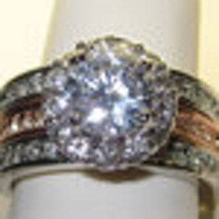 WHITE & ROSE GOLD CUBIC ZIRCONIA & WHITE CRYSTALS RING NEW SELECT YOUR SIZE WEAR ONE OR BOTH