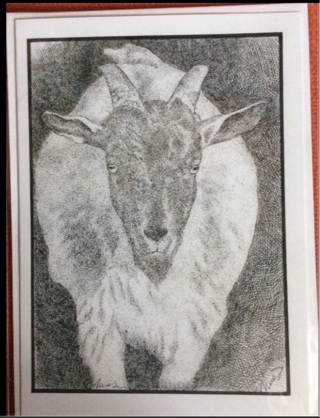 "GOAT! - 5 x 7"" art card by artist Nina Struthers - GIN ONLY"