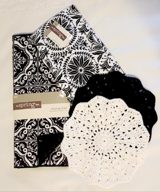 "Crochet 2 - 9"" Dish Cloth/Wash Cloths/1 EVERYDAY MICRO KITCHEN TOWEL& 1 DISH DRYING MAT"