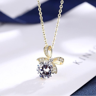 Women Necklaces Spinel Bow Pendant Silver Jewlery