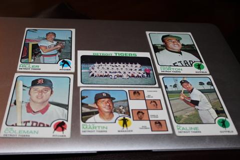 (6) 1973 Topps Baseball Detroit Tigers Stars HOF MLB
