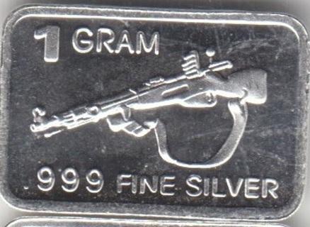 1 Gram Mosin-Nagant Sniper Rifle .999 Fine Pure Solid Silver Bar 0414-111