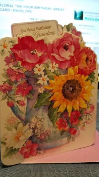 """BEAUTIFUL FLORAL """"ON YOUR BIRTHDAY GREAT GRANDMA"""" CARD W/ WHITE ENVELOPE"""