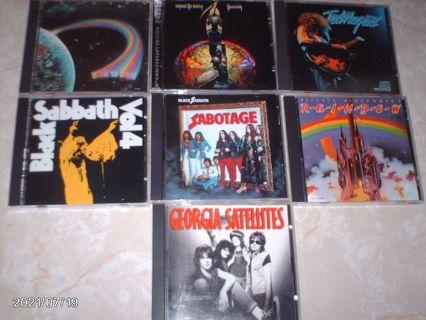 LOT of 7 Music CD's Black Sabbath Rainbow Ted Nugent Nazareth Georgia Satellites