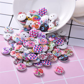 100PCs Colorful Round Wooden Buttons Children DIY Craft 2 Holes Sewing Buttons