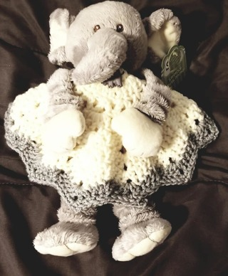 "Baby Security Cuddle Blankie 9"" Elephant & a 12"" diam Crochet Blanket"