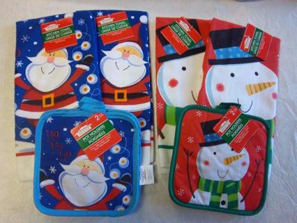 new christmas dishtowelpotholder sets santa and snowman theme gin get both sets - Stuff To Get For Christmas