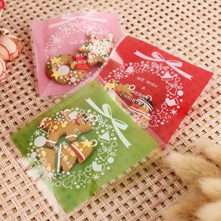 100PCS Cookie Packaging Christmas Santa Plastic Self Adhesive Gift Bags Sets Hot