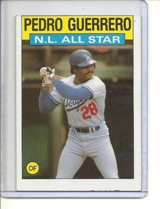 (B-3) 1986 Topps #706: Pedro Guerrero - NL All-Star- Factory Error - Off-Set Cut