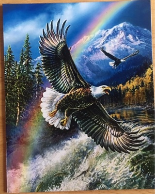 """SOARING EAGLE WITH RAINBOW  - 3 x 5"""" MAGNET"""