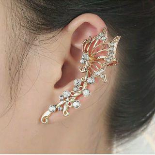 Women's Punk Fashion Crystal Clip Ear Cuff Stud Wrap Cartilage Earring