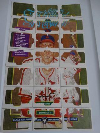 1988 Donruss Stan Musial Puzzle - 21 Cards all 63 pieces - Plus Card #641 - St. Louis Cardinals
