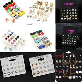 Women Fashion Earrings set Elegant Pearl Crystal Rhinestone Ear Studs Jewelry