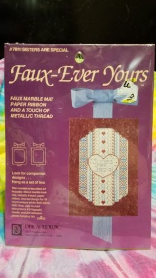 BNIP FAUX-EVER YOURS COUNTED CROSS STITCH KIT DECORATION FOR THAT SPECIAL SISTER