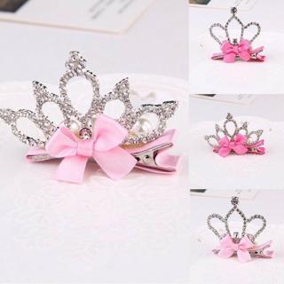 Baby Girl Pretty Crystal Rhinestone Princess bowknot Crown Hair Clip Headband