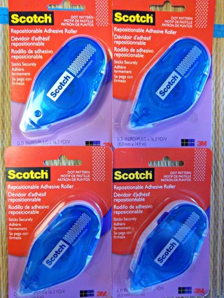 NEW - Lot/4 SCOTCH Double Sided Repositionable Adhesive Roller 16.3 yds ea roll