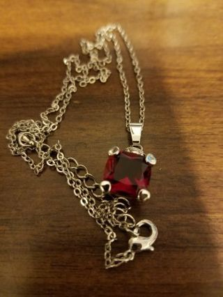 Red Ruby Silver Necklace