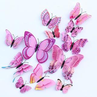 12pcs Multicolor Double Layer Wings 3D Butterfly Wall Sticker Magnet PVC Butterflies Party Kids Be