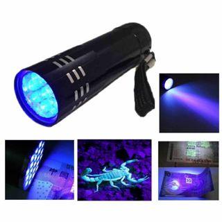 Torch Light Lamp Black-Mini Aluminum Light Violet Flashlight 9 LED Blacklight