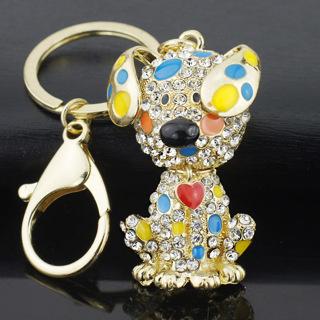 Enamel Dalmatian Dog Red Heart Crystal HandBag Pendant Keyrings Keychains For Car key