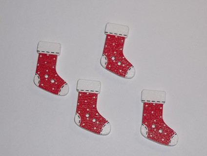 "Red & White Polka Dot 1"" Christmas Stocking Buttons~4pcs"