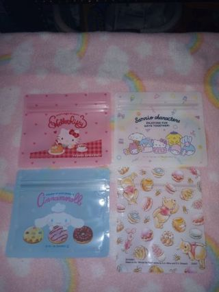 ❤❇️❤❇️❤️4 BRAND NEW SMALL KAWAII CHARACTER ZIPLOCK BAGS❤❇️❤❇️❤4 DESIGNS/1 OF EACH! (GIN=DOUBLE)