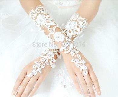 Lace appliqué wedding gloves
