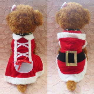 Santa Claus Costume Puppy Pet Dog Christmas Dress Apparel Hoodie Coat Outwear