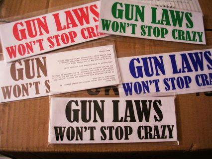 1 NEW DECAL STICKER Gun Laws Wont Stop Crazy Vinyl Sticker Car Window SUV Bumper Winner Choose COLOR
