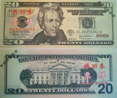 Chinese Training 20 Replica Dollar Bill Collectible Fake Play Funny Money Novelty Note