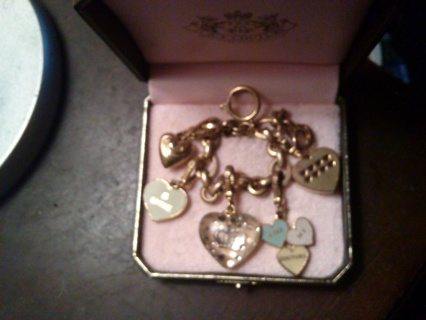 Juicy Couture Charm Bracelet!! 5 Hard To Find, Rare, Heart Shaped Charms!! Must See,Too Cute!!