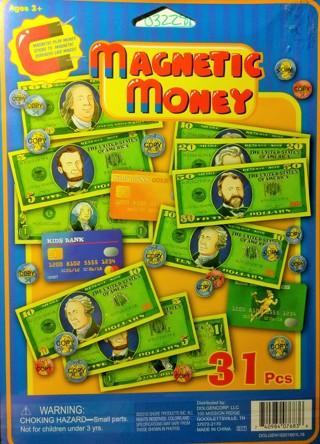 NEW BOY/GIRL CHRISTMAS STOCKING STUFFER-31 PCS MAGNETIC PLAY MONEY