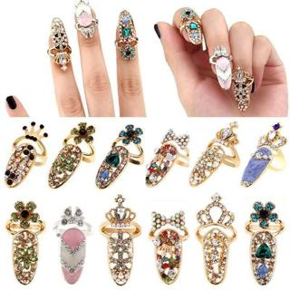 Delicate Women Punk Crystal 3D Nail Art Midi Above Knuckle Band Finger Tip Ring