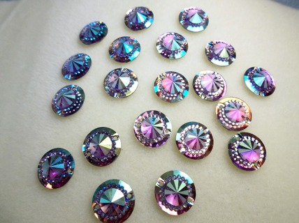 AB Mini Faceted Flatback Resin Round Sew-On Embellishments 14mm Purple **Free Shipping**