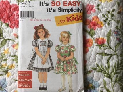 Girls Dress Pattern-NIP-Sizes 3-8