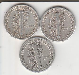 Silver 1944-P-D-S Mercury Dimes