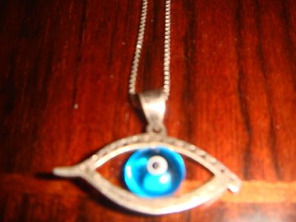 Vintage Estate Sterling Silver Evil Eye Necklace 1940s L@@K