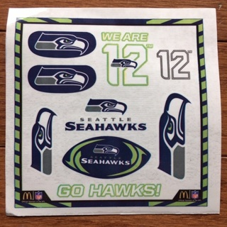 Seattle Seahawks Temporary Tattoos Sheet