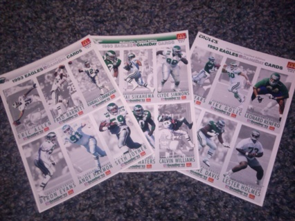 Philly Eagles uncut McDonalds Cards