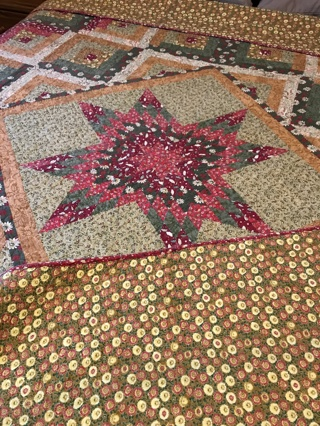 """Beautiful Handmade Rustic Star Reversible Queen size Quilt: 90"""" by 83"""""""