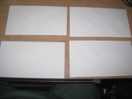 FOUR REGULAR SIZE WHITE ENVELOPES 3 5/8X6 1/2 IN BONUSES POSSIBLE PLEASE READ!!